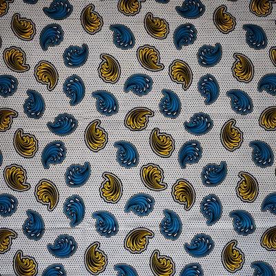'SEA SHELLS (on white)' African Wax Block Print Fabric