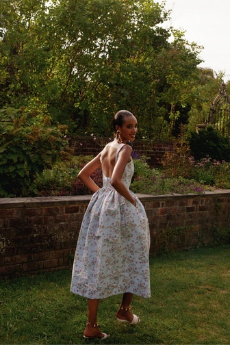 Apple Blue Ikat Floral Full Skirt Corset Dress