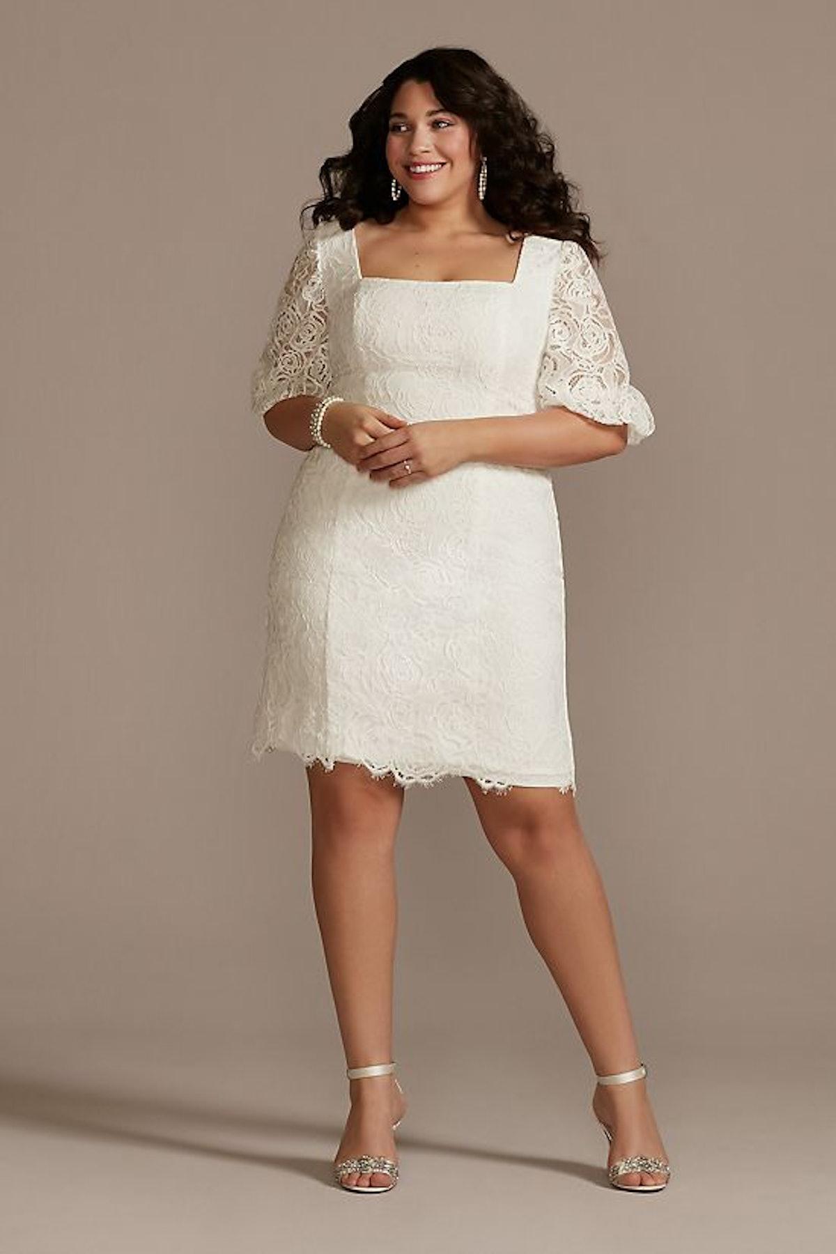 Lace Plus Size Mini Dress with Bubble Sleeve