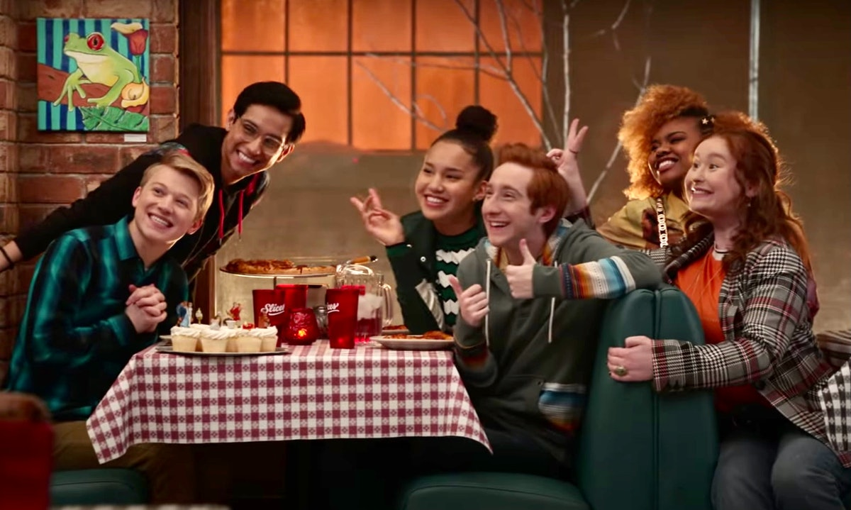 Disney+'s 'High School Musical' series characters playing games, activities, having fun at a restaurant.