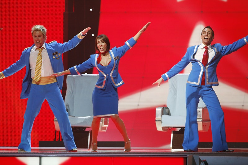 Scooch performing 'Flying The Flag' at the Eurovision Song Contest 2007.