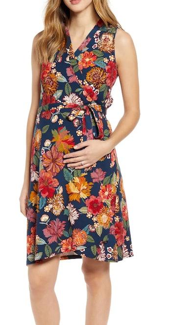 Print Maternity Wrap Dress in Red Print