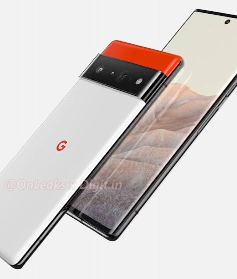 Renders made from leaks of Google's upcoming Pixel 6 phone. Mobile. Android. Smartphones.