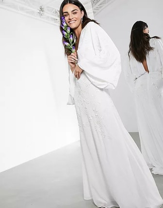 Lisa Drape Sleeve Plunge Wedding Dress