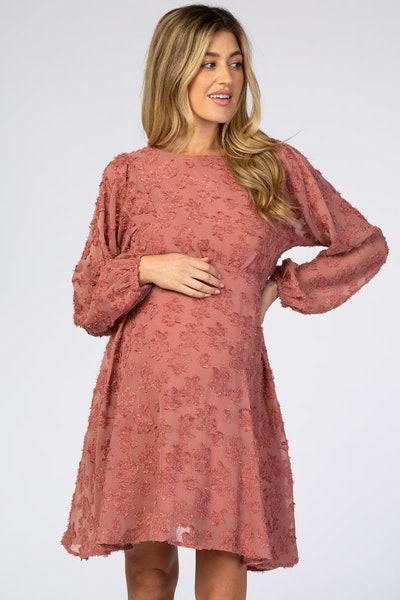 Mauve Chiffon Flocked Floral Maternity Dress