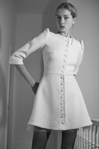 Wool Button Front Mini Dress