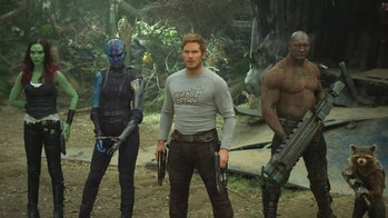Gamora, Nebula, Star-Lord, Drax, and Rocket in Guardians of the Galaxy Vol. 2