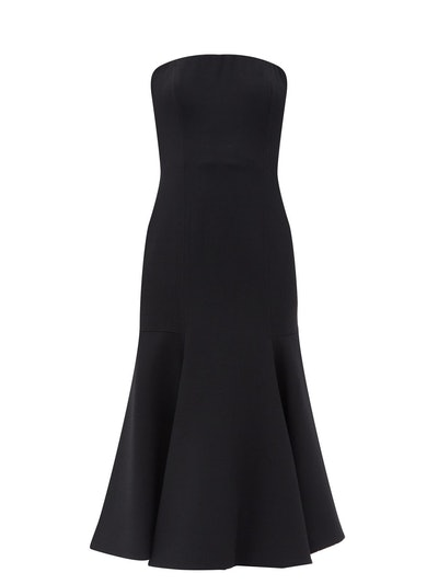 Strapless Fluted-Hem Wool-Blend Midi Dress
