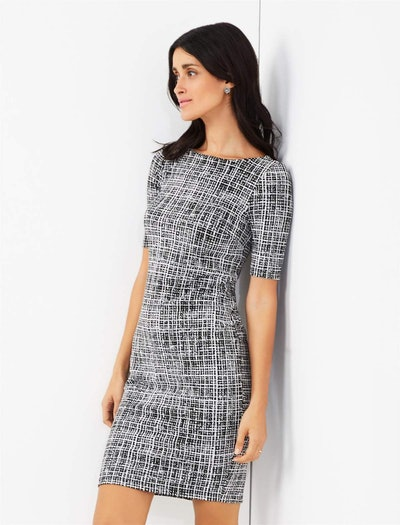 Textured Bodycon Maternity Dress in Black/White Print