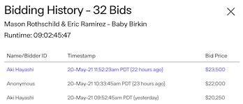 Baby Birkin NFT bids