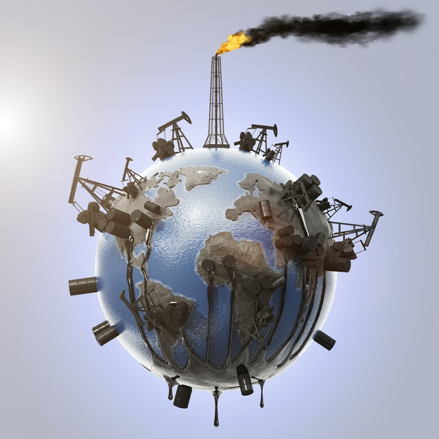 The concept of pollution of the planet with the oil industry from which oil flows and pollutes the environment, pipes with smoke and a drop of oil. Ecological catastrophe. Natural resources. 3D render
