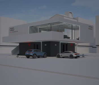Audi is testing a vehicle charging hub concept that would alleviate strain on electrical grids.