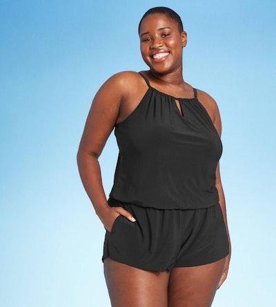 Women's High Neck Swim Romper with Pockets