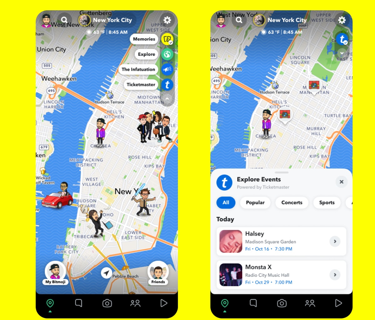 Snapchat is releasing Map Layers on the app that show you restaurants and concerts nearby.