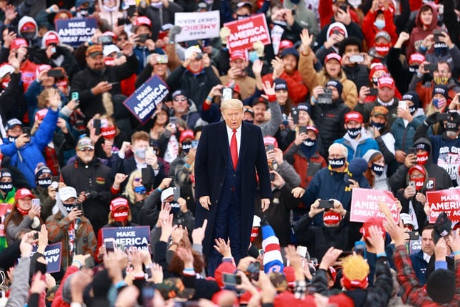 Trump at a campaign rally on Oct. 17, 2020, in Muskegon, Michigan, after recovering from COVID-19.