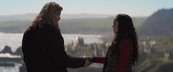 Chris Hemsworth and Tessa Thompson shaking hands in Avengers: Endgame