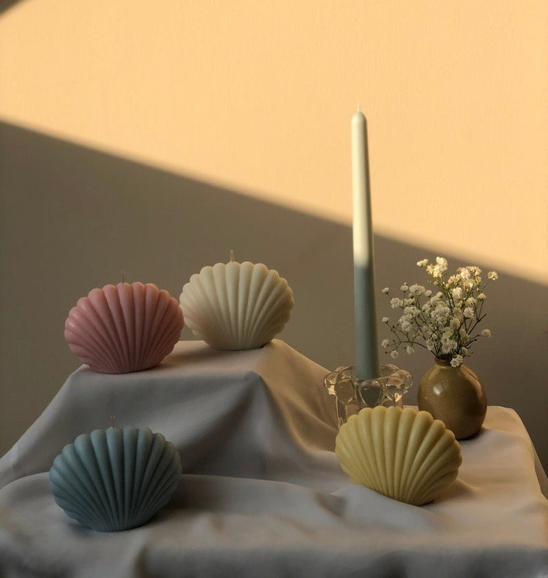 Shell-shaped candles fro Interlude on Etsy