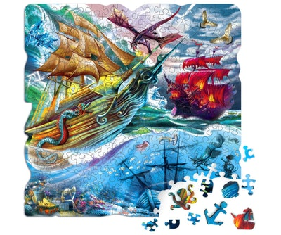 QUOKKA Store Ship Battle With Dragon Wooden Jigsaw Puzzle