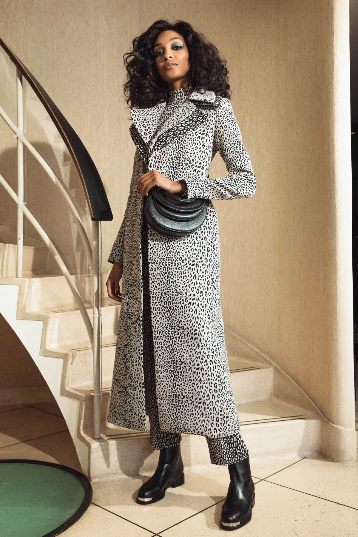 Jourdan Dunn in leopard print coat