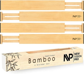 New Vision Pro Adjustable Bamboo Drawer Dividers (4-Pack)