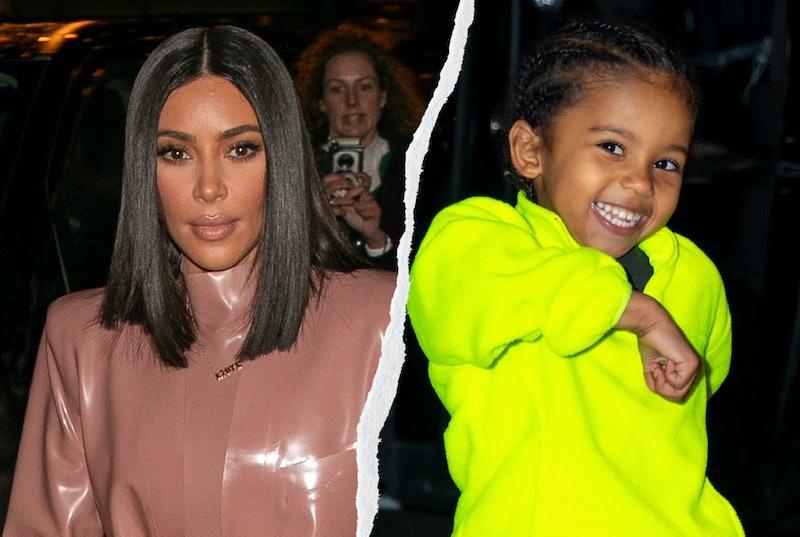 Kim Kardashian and her son Saint.