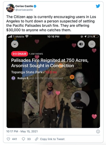 Neighborhood watch app Citizen was forced to apologize after offering a $30,000 reward to anyone who caught a wrongly-identified suspect in a brush fire.