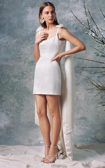 Celestia White Silk Mini Dress
