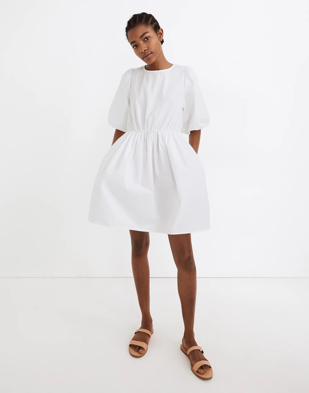 Poplin Crewneck Bubble-Sleeve Mini Dress