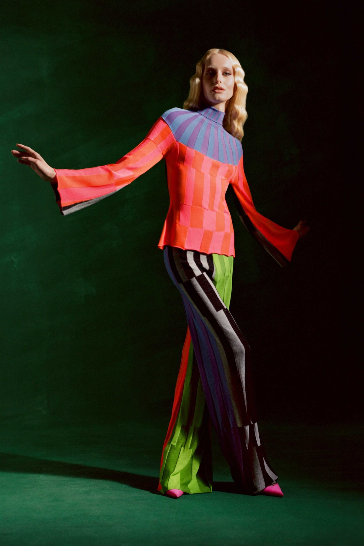 Model in bright knits