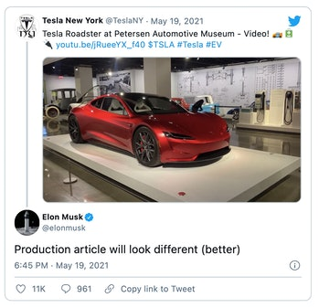 Tesla CEO Elon Musk says the upcoming Roadster electric supercar will see an updated design before i...