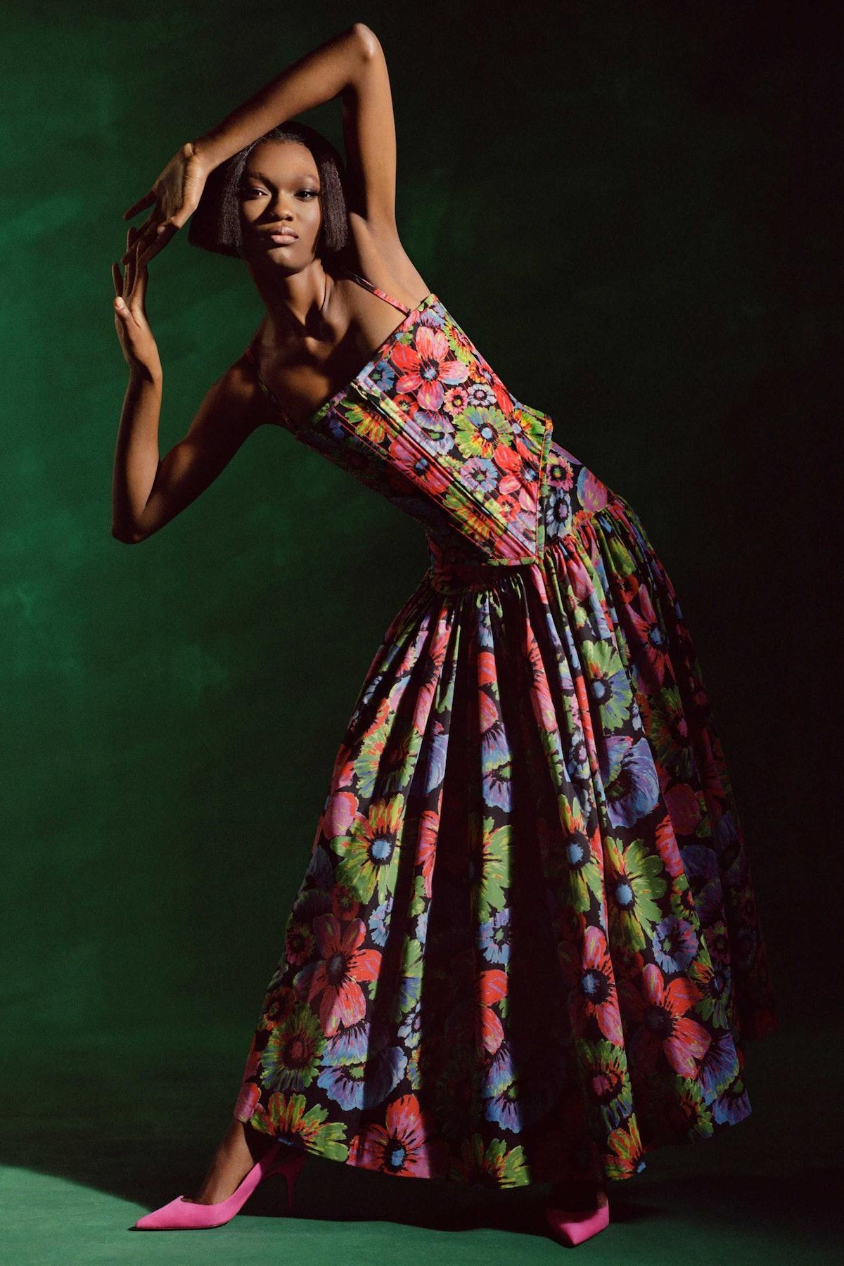 Model in floral dress