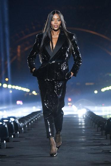 Naomi Campbell walking Saint Laurent