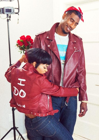 Teyana Taylor and Iman Shumpert got married while wearing red leather jackets.