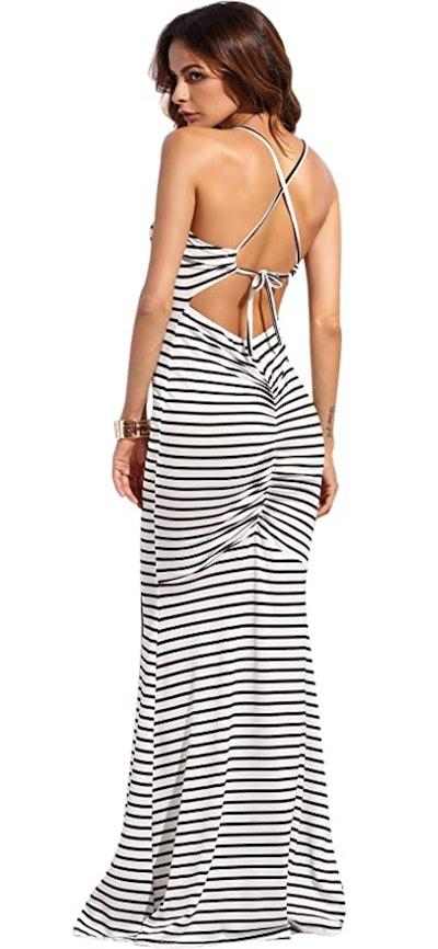 SheIn Strappy Backless Maxi Dress