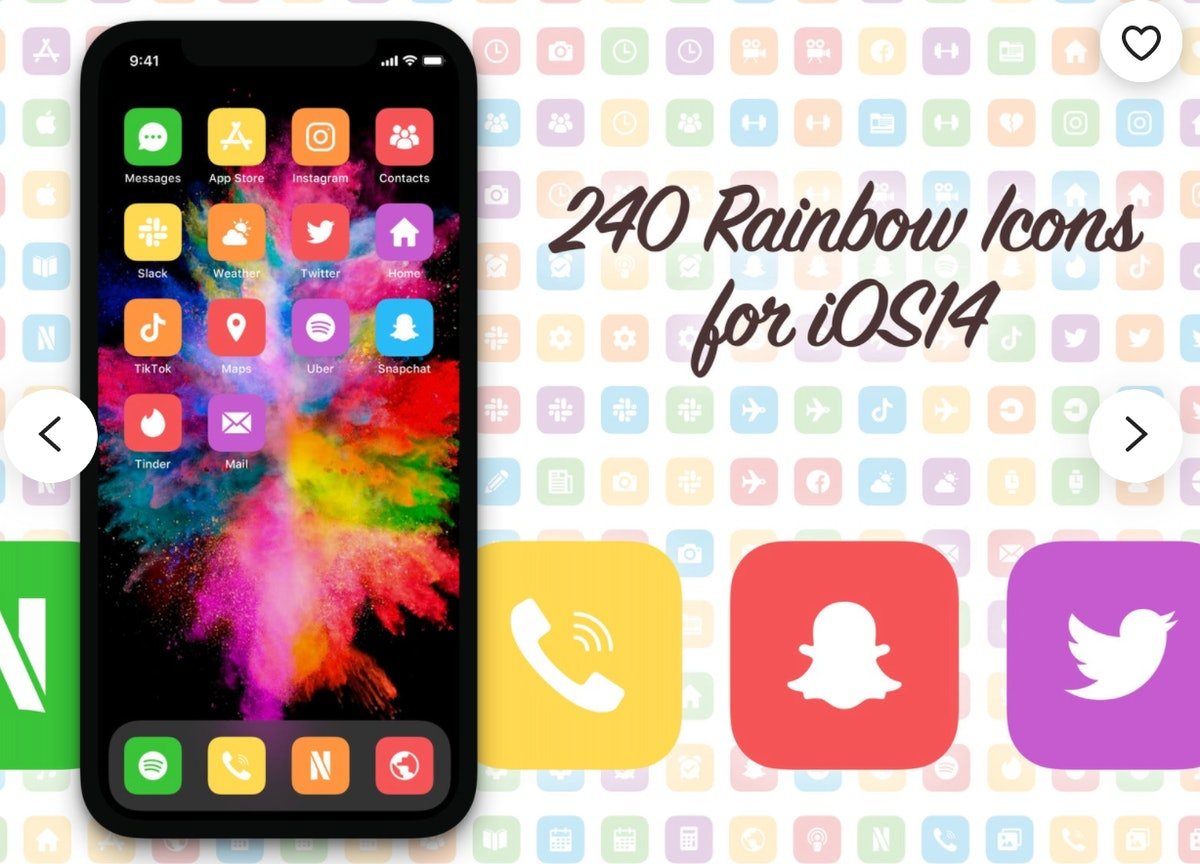 Rainbow Style App Icon Covers for iPhone Home Screen