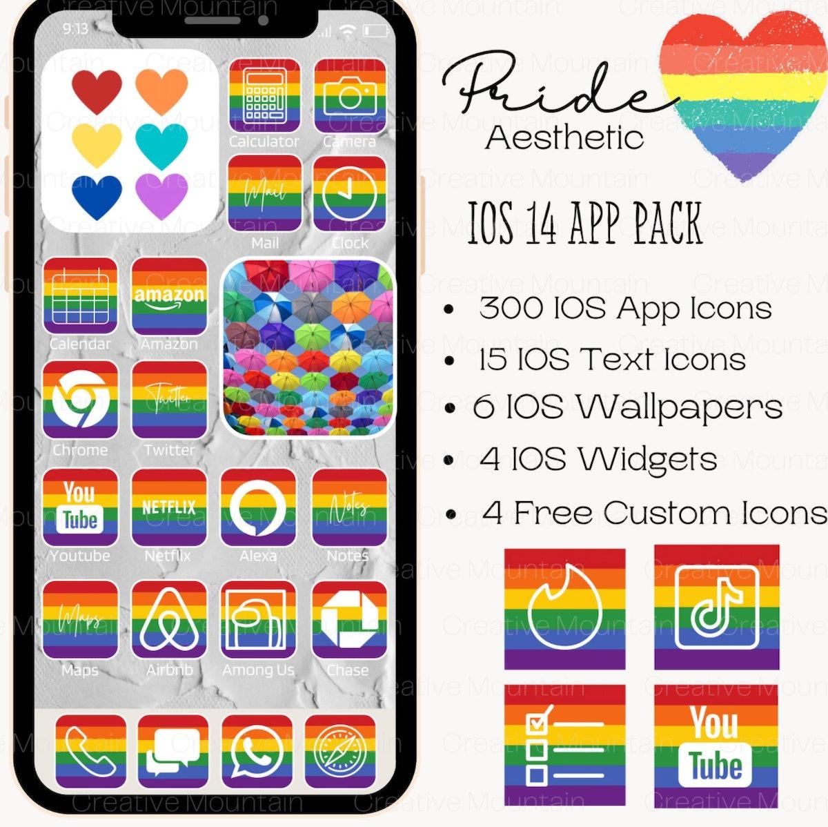LGBTQ Pride Flag IOS App Icon,