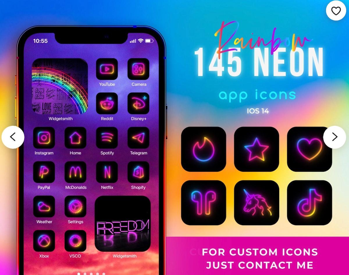 Rainbow Neon iOS 14 Icons