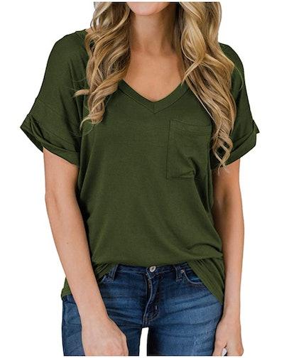 MIHOLL Short Sleeve V-Neck T-Shirt