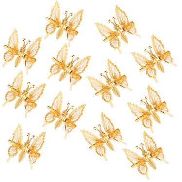 Gold Moving Butterfly Hair Barrettes (12 Pieces)