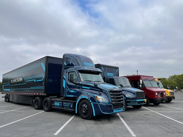The Freightliner line-up of electric trucks.