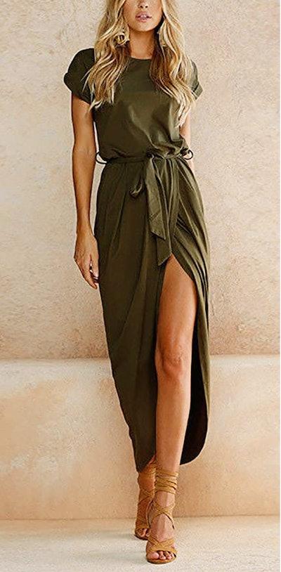 Yidarton Short Sleeve Maxi Dress
