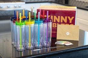 SKINNY TUMBLERS Acrylic Cups, 16 oz. (Set Of 12)