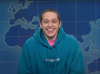 """Pete Davidson sparked rumors he may leave 'SNL' during a """"Weekend Update"""" segment on Season 46's fin..."""