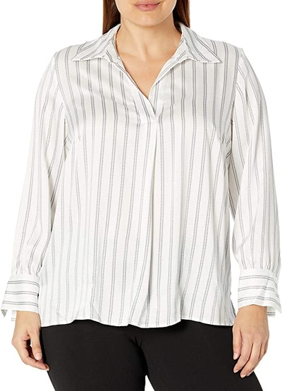 Nine West Plus Size Stripe Satin Collar Shirt