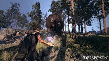 forspoken gameplay magic vs giant bear creature