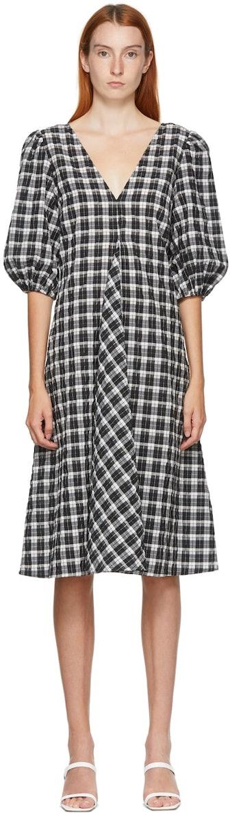 SSENSE Exclusive Black & White Seersucker Check Long Dress
