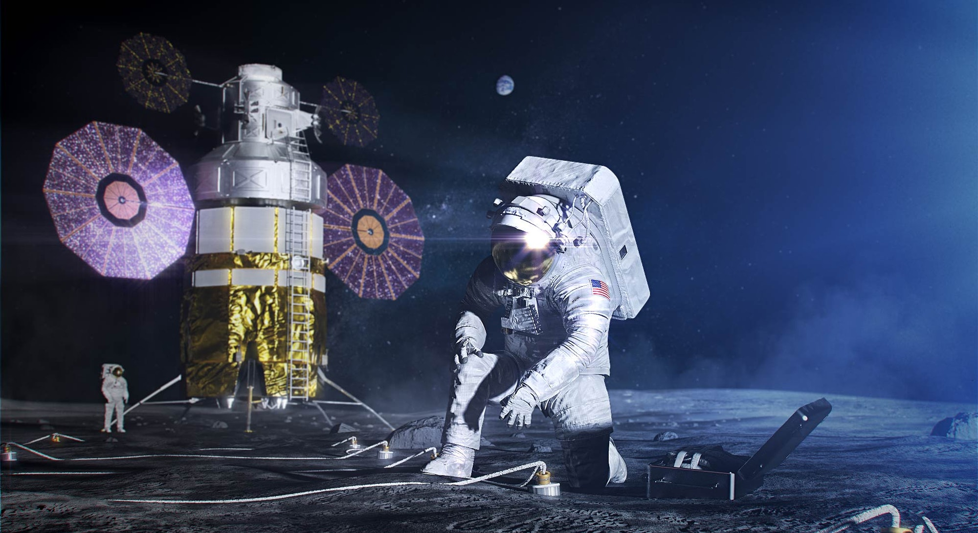 illustration of astronaut on moon