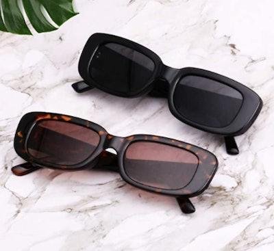 KUGUAOK Retro Rectangle Sunglasses (Set of 2)