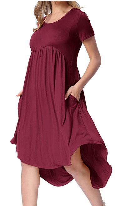 levaca High-Low Pleated Swing Dress