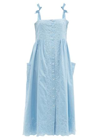 Tie-shoulder Floral-Embroidered Cotton Dress